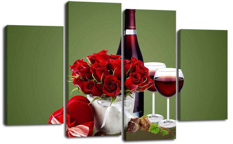 Модульная картина Шампанское и розы