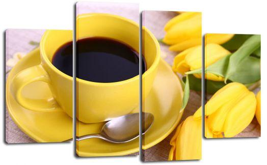 Модульная картина Кофе и тюльпаны