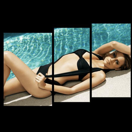 Модульная картина Девушка у бассейна