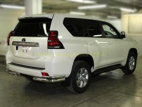 Защита заднего бампера уголки двойные 76х42 мм для Toyota Land Cruiser Prado 150 2017 -