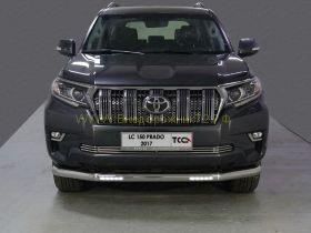 Защита переднего бампера 76.1 мм с ДХО для Toyota Land Cruiser Prado 150 2017 -