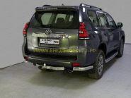 Защита заднего бампера уголки 75х42 мм для Toyota Land Cruiser Prado 150 2017 -