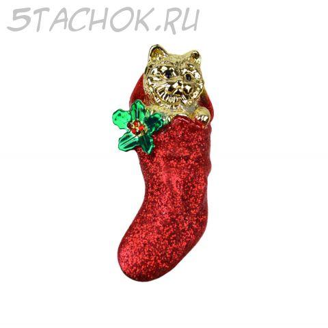 """Брошь """"Кошачий новогодний подарочек"""" под золото, блестки"""