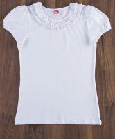 Белая блузка для девочки с коротким рукавом