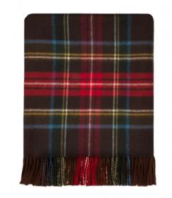 легкий шотландский плед , 100 % стопроцентная шотландская овечья шерсть, расцветка (тартан) Королевский клан Стюарт Старинный STEWART BROWN ANTIQUE , плотность 6