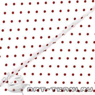 Ткань 50x40 Красный горошек на белом