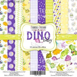 "Набор скрап бумаги ""Dino baby"", 20x20см FD"