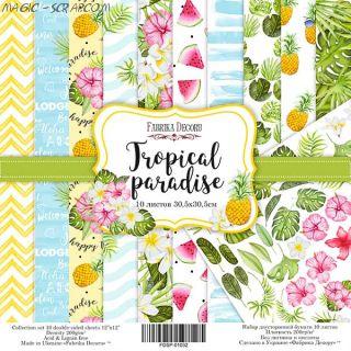 "Набор скрап бумаги ""Tropical paradise"", 30,5x30,5 см FD"