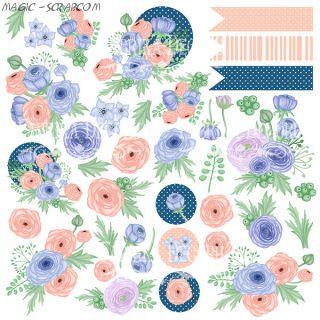 """Лист с картинками для вырезания """"Flower mood"""" FD"""