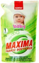 Sano Maxima Смягчитель для белья Baby с алоэ вера 5 в 1: аромат, нейтрализация запаха, мягкость, антистатик, лёгкая глажка запасной блок 1 л