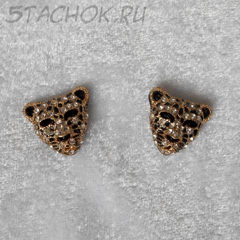 "Серьги-гвоздики ""Леопард"" цвет золота (Joan Rivers США)"