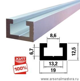ХИТ! Шина-направляющая T-track  (профиль-шина) 19 мм, анодированная, серебро матовое, 1 м TR019.1000