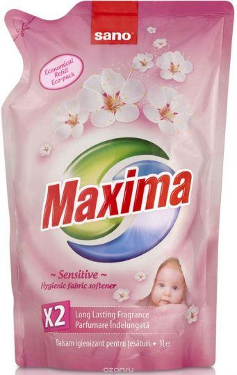 Sano Maxima Смягчитель для белья Sensitive 5 в 1: аромат, нейтрализация запаха, мягкость, антистатик, лёгкая глажка запасной блок 1 л