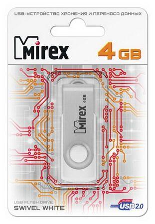 USB накопитель  4 ГБ  Mirex SWIVEL WHITE