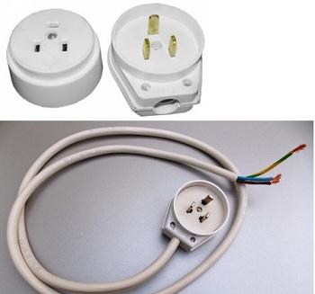 Комплект для подключения электрических плит (кабель 1 метр + силовая розетка с вилкой)
