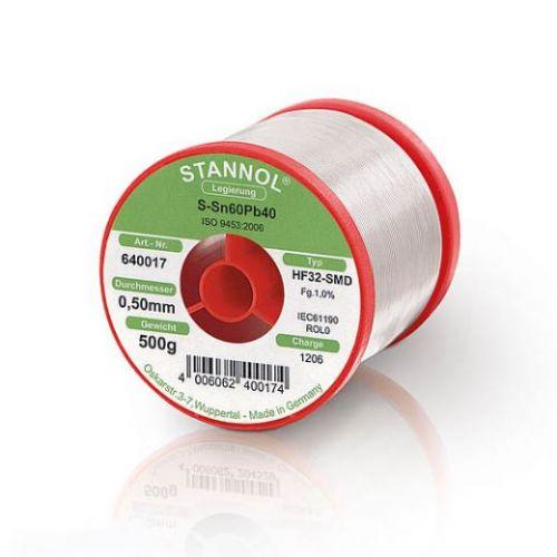 Трубчатый припой Stannol HF32-SMD 1.0 мм с серебром