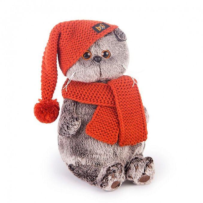 Кот Басик в вязаной шапке и шарфе Ks30-075