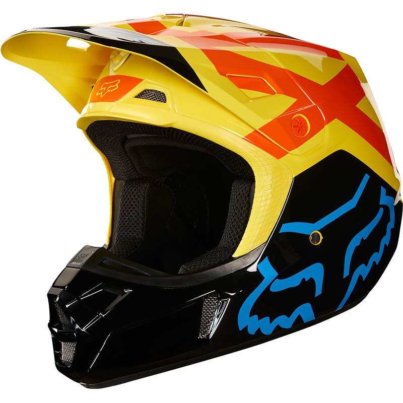 Fox - 2018 V2 Preme Black/Yellow ECE шлем, черно-желтый