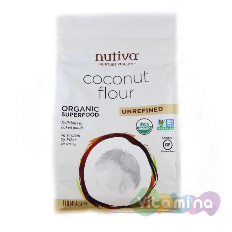 Органическая кокосовая мука, нерафинированная, 454 гр