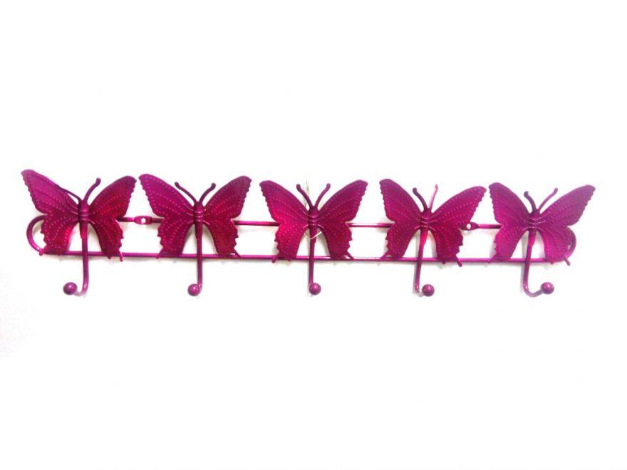 Настенная вешалка на 5 крючков Бабочки (Цвет: Розовый)