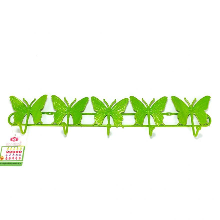 Настенная вешалка на 5 крючков Бабочки (Цвет: Зеленый)
