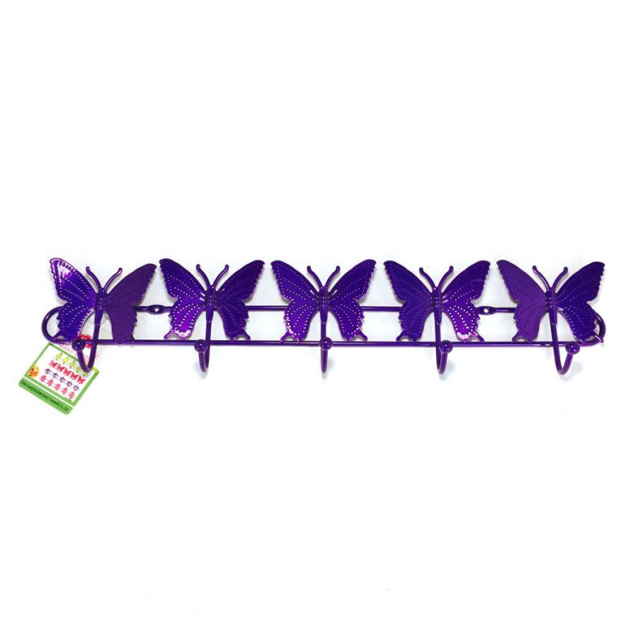 Настенная вешалка на 5 крючков Бабочки (Цвет: Фиолетовый)