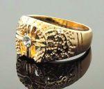 Позолоченная печатка с искусственными бриллиантами (арт. 250133)