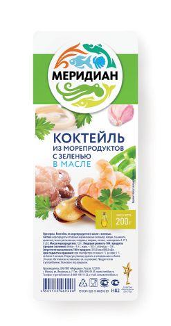Коктейль из морепродуктов Меридиан 200г в масле с зеленью