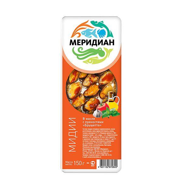 Мидии 150г брушетта в масле с пряностями Меридиан