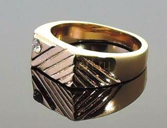 Позолоченная печатка с искусственным бриллиантом (арт. 250142)