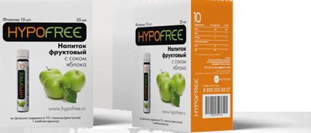 HYPOFREE 10 напиток фруктовый с соком яблока 10 флаконов по 1 ХЕ