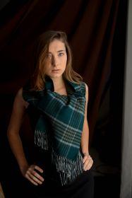Роскошный двусторонний кашемировый шарф (100% драгоценный кашемир) ТРАДИЦИОННАЯ КЛЕТКА (Малахитовый цвет) и узор Ёлочка (серый)   , Green Check / Herringbone  высокая плотность 7