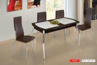 Стол обеденный  раздвижной  (стекло) 1200*700 на металлических опорах  (Марибель)