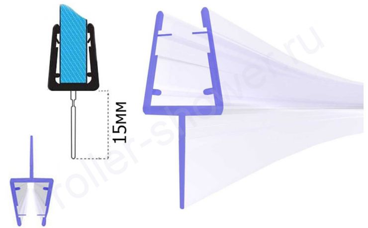 Серия -T Уплотнители для душевых кабин, для стекла (4,5,6,8,10мм)