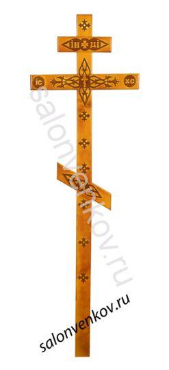 Крест на могилу деревянный сосна Прямой с декором 210см светлый