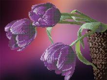 Фиолетовые тюльпаны. А3 (набор 900 рублей) Картины Бисером S-161