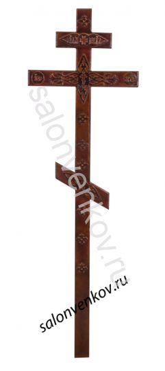 Крест на могилу деревянный сосна Прямой с декором 210см темный