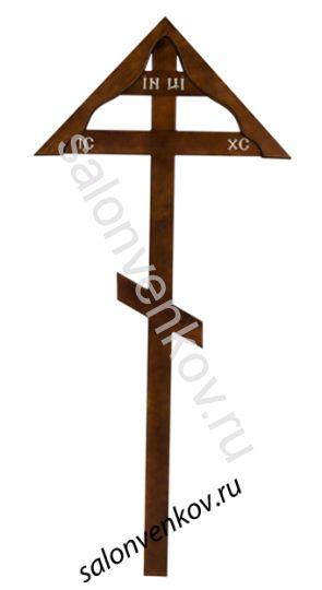 Крест на могилу деревянный сосна Домик 220см темный