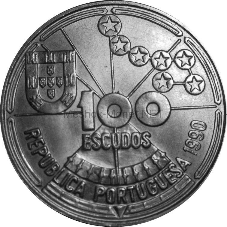 Португалия 100 эскудо 1990 г. Золотой век открытий - Астронавигация.