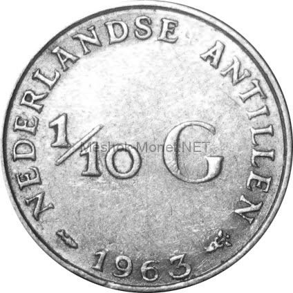 Антильские острова 1/10 гульдена 1966 г.