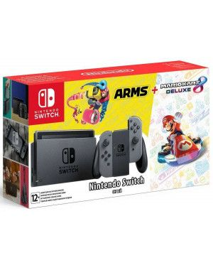 Игровая приставка Nintendo Switch (Grey) + игра Mario Kart 8 + игра Arms