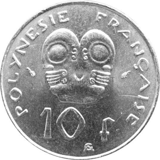 Полинезия 10 франков 1985 г.