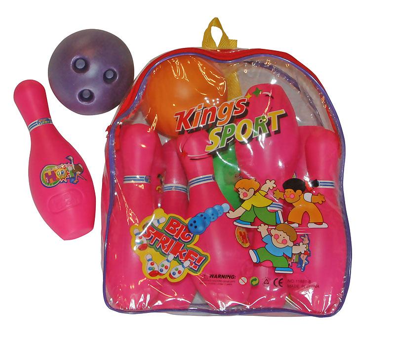 Игра детская  Боулинг в рюкзаке (кегли 19см-10шт, шар d15см-2шт)