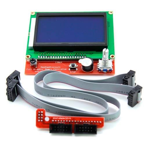 Комплект монитор 12864 LCD, коннектор rams 1.4, шлейф