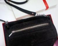 Муфта-сумка из норки и замши темно-коричневая