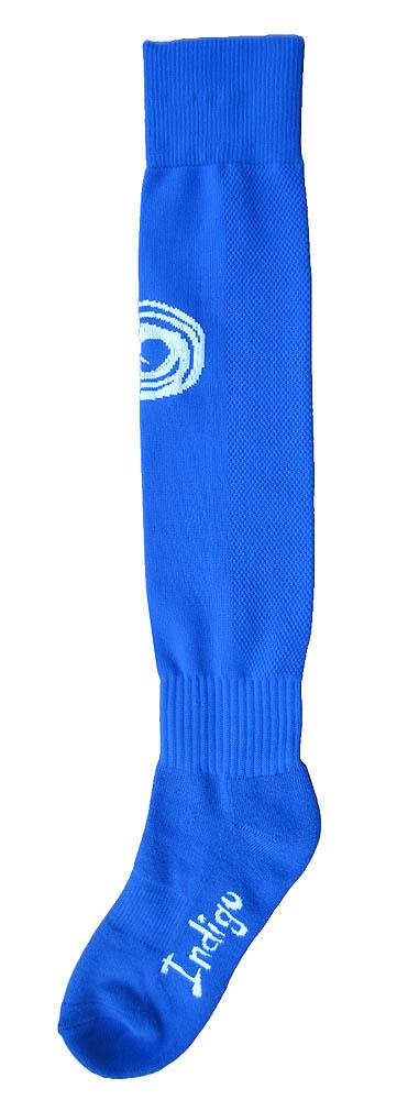 Гетры футбольные Indigo MAZ-481 голубые с логотипом Indigo