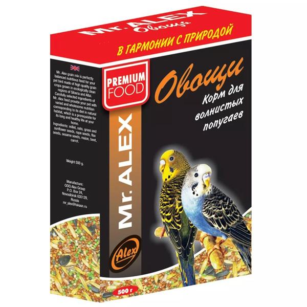 Корм Mr.Alex Овощи для волнистых попугаев 500гр