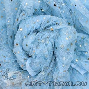 Мягкий фатин Пастель - Синий со звездочками