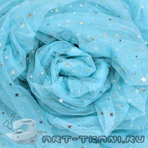 Мягкий фатин Пастель - Голубой со звездочками