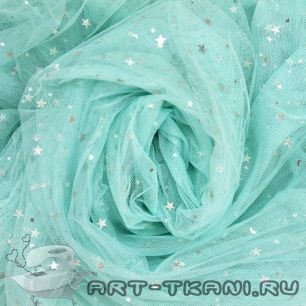 Мягкий фатин (еврофатин) - Мятный со звездочками 160х25